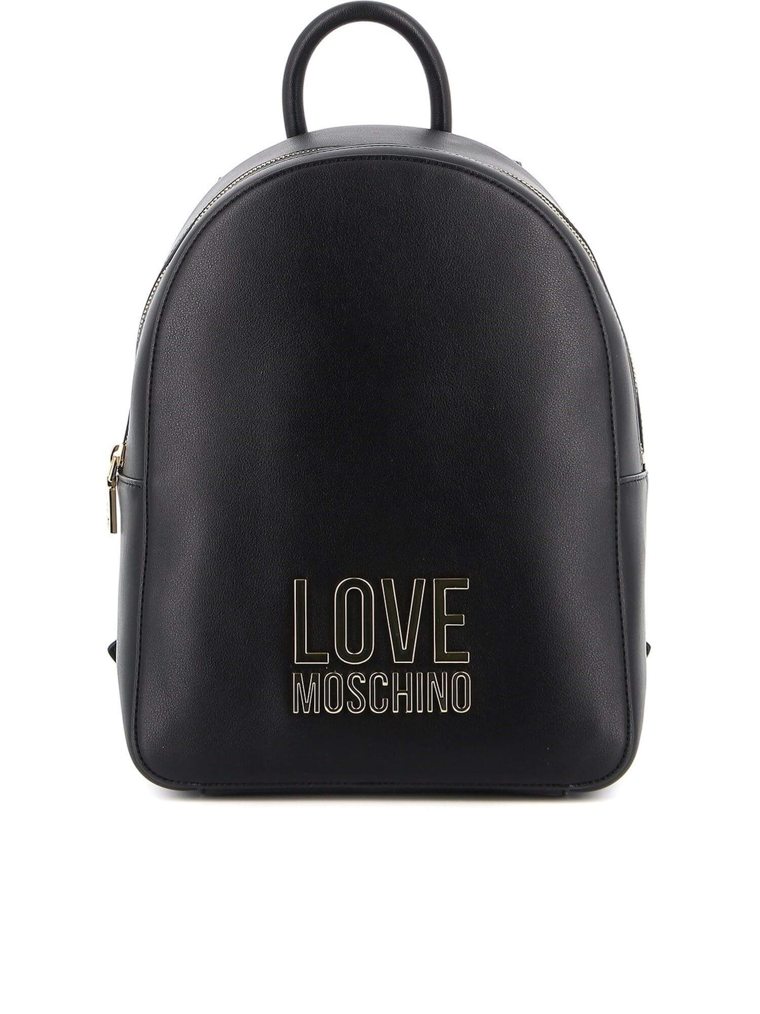 Zaino Love Moschino Bonded Nero e Logo Oro - Donna