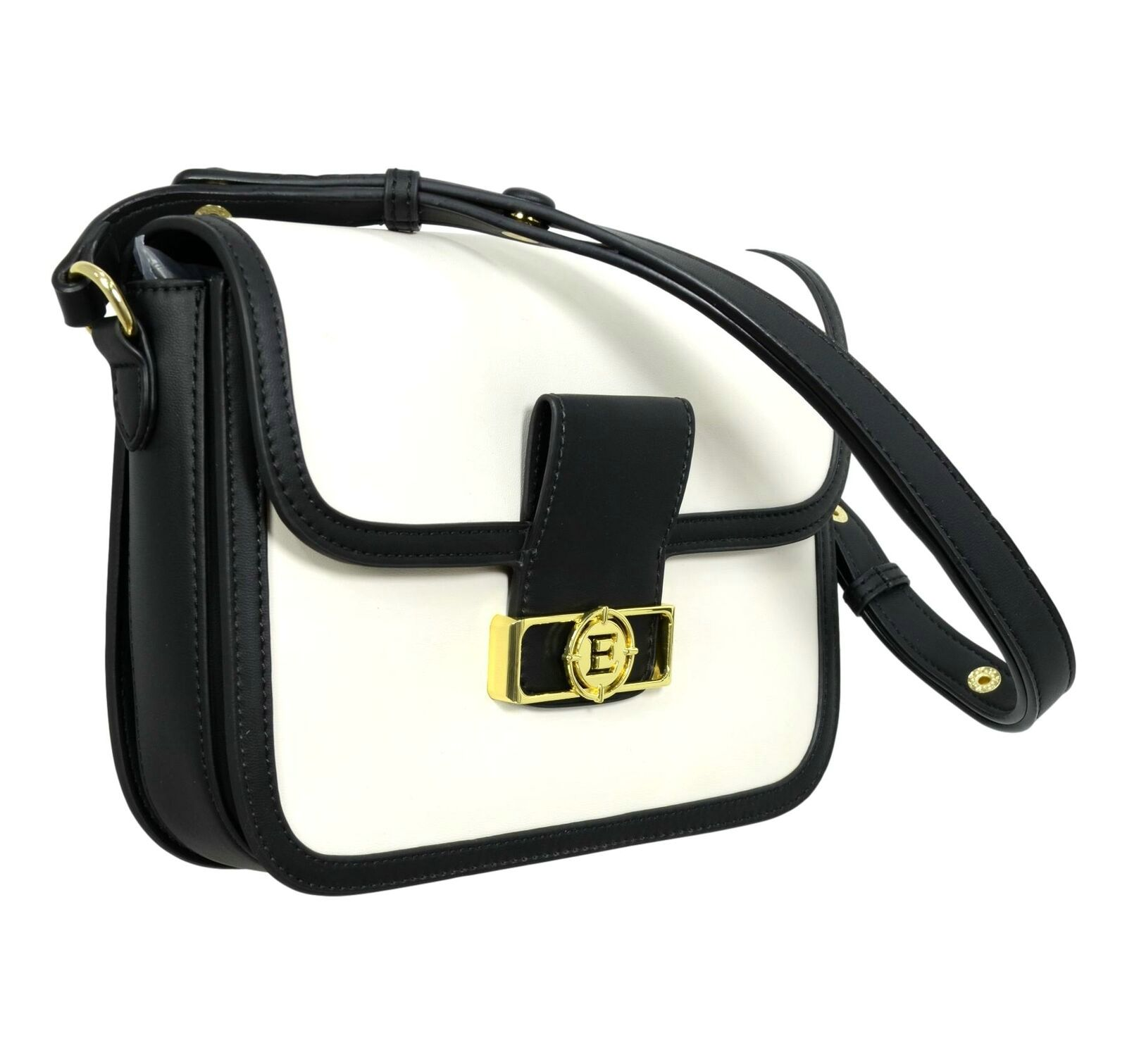 Borsa Ermanno Scervino Medium Flap Bag Joey 12401155 whiteblack laterale