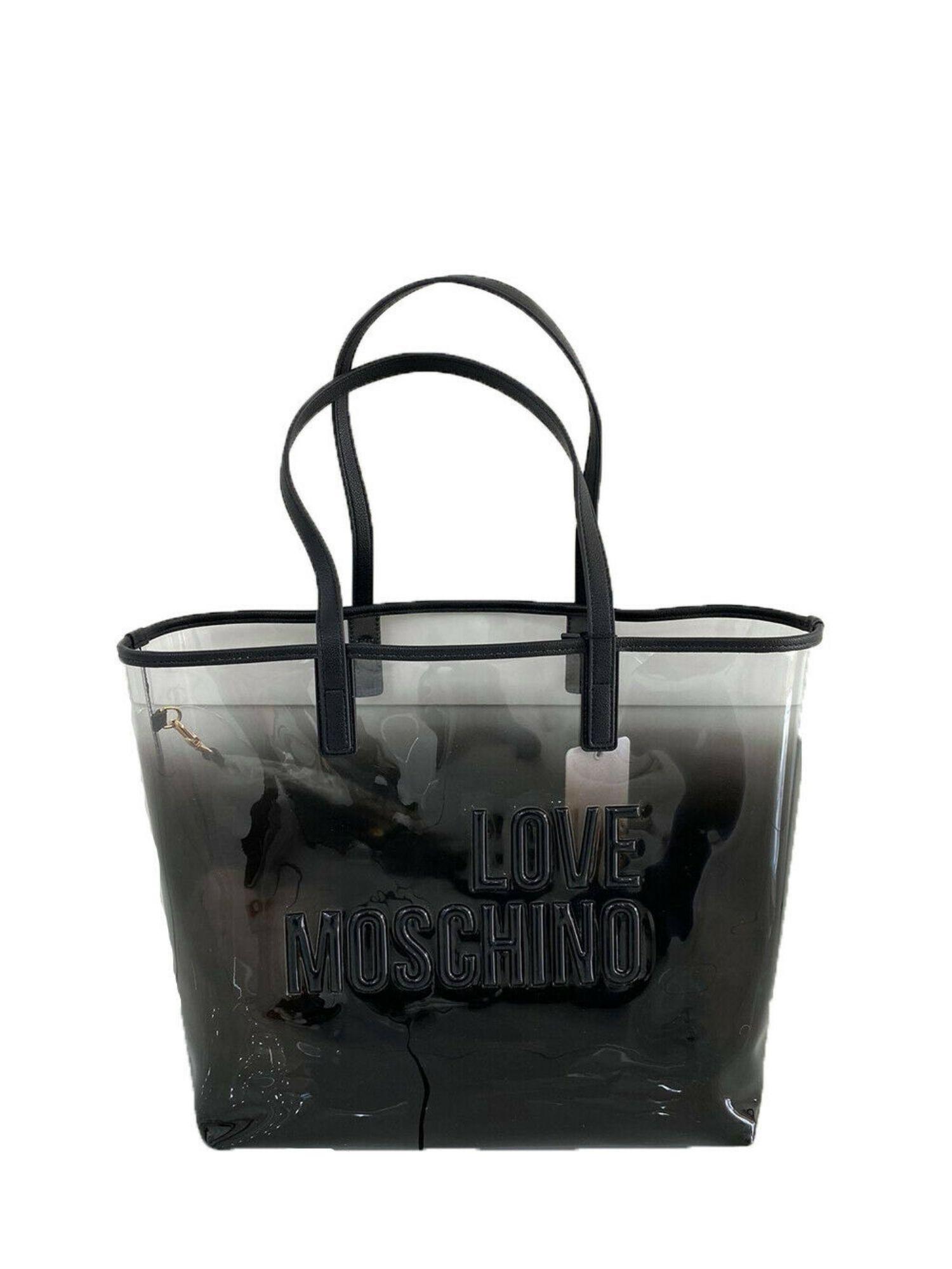 Borsa Shopper Love Moschino JC4255PP0CI100A in PVC Sfumato Nero