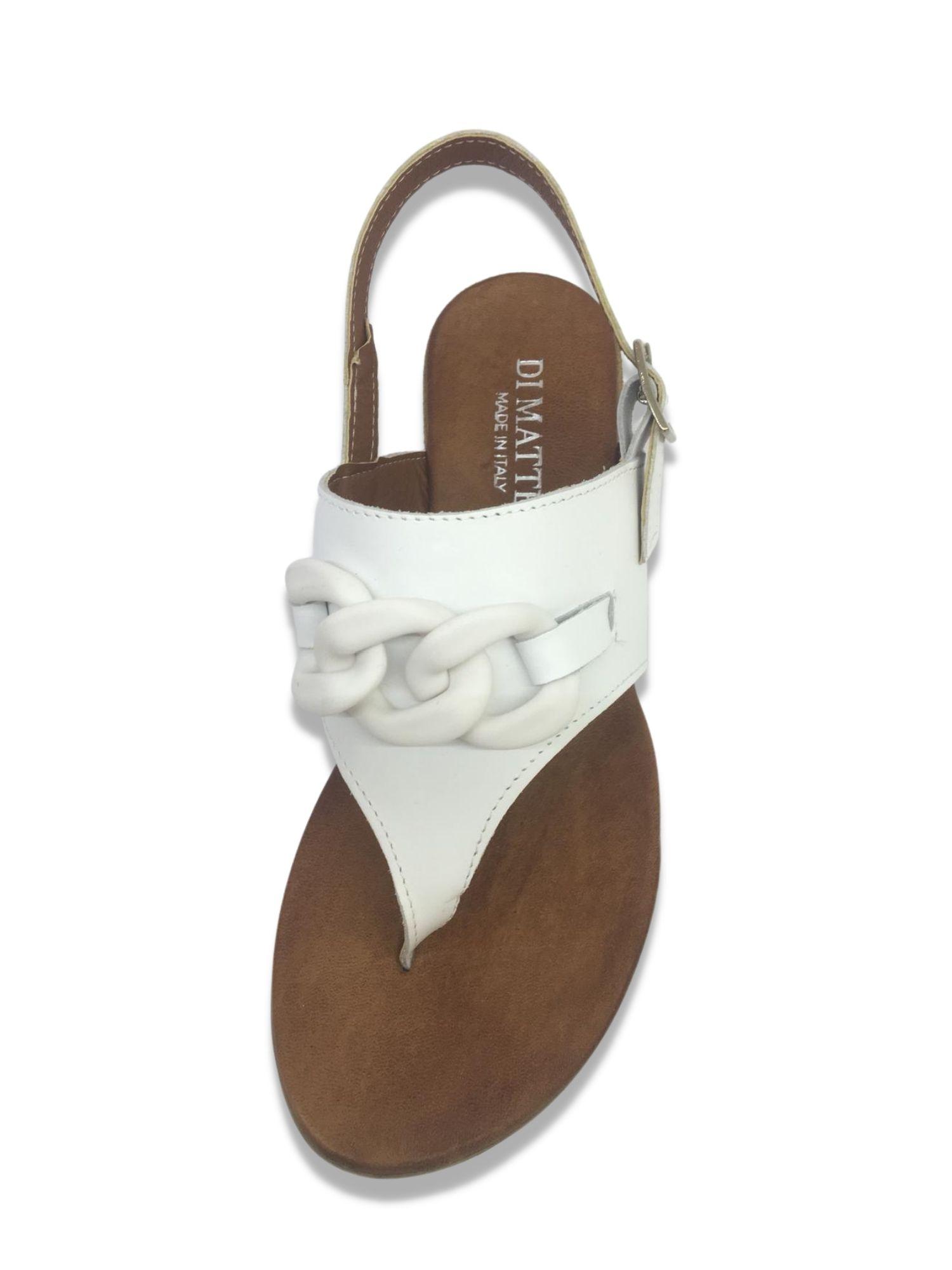 Sandalo infradito Made in Italy 203 Bianco alto