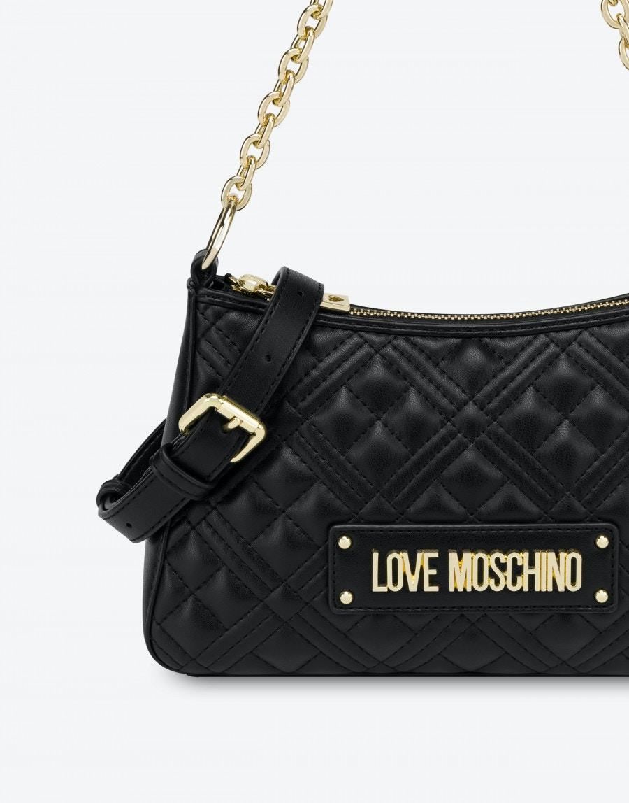 Borsa a Spalla Hobo Bag Shiny Quilted Love Moschino 4135 nera dettagli