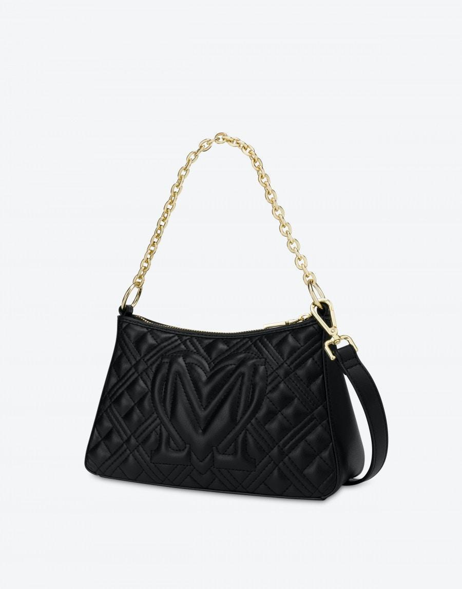 Borsa a Spalla Hobo Bag Shiny Quilted Love Moschino 4135 nera retro