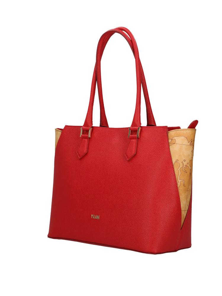 Borsa shopping Alviero Martini Urban Way in tessuto goffrato chicco di riso rosso scarlatto gr259673 rossa lat