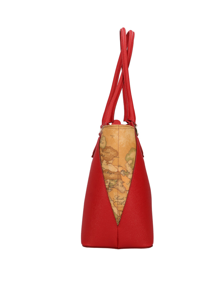 Borsa shopping Alviero Martini Urban Way in tessuto goffrato chicco di riso rosso scarlatto gr259673 rossa lato
